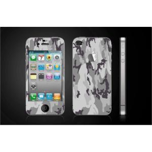 iPhone 4  4S iPhone 5 iPhone 5S  対応保護シール アイフォン用 迷彩柄 グレー色 アップル切り抜きデザイン|imagine-style