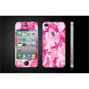 iPhone 4  4S iPhone 5 iPhone 5S  対応保護シール アイフォン用 迷彩柄 ピンク色 アップル切り抜きデザイン|imagine-style