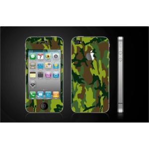 iPhone 4  4S iPhone 5 iPhone 5S  対応保護シール アイフォン用 迷彩柄 緑色 アップル切り抜きデザイン|imagine-style
