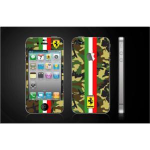 iPhone 4  4S iPhone 5 iPhone 5S  対応保護シール アップル切抜き アイフォン用 フェラーリ グリーン迷彩柄|imagine-style