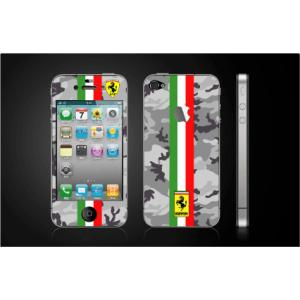 iPhone 4  4S iPhone 5 iPhone 5S  対応保護シール アップル切抜き アイフォン用 フェラーリ グレー迷彩柄|imagine-style