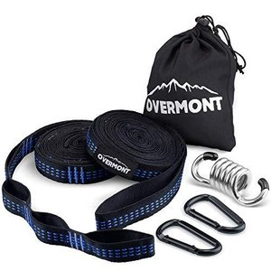 Overmont ハンモックベルト ハンモックストラップ 2本セット (長さ300cm ノード18個...