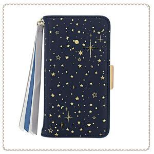 f9df3a0ca8 各種スマートフォン用 マルチ ケース 手帳型 ブックレットケース マルチタイプ リボン付き 宇宙 SCM0020-NV ネイビー おしゃれ かわいい  人気 Galaxy Android