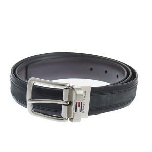 【安い】トミー ヒルフィガー TOMMY HILFIGER メンズ ベルト 08X010BK-B ブラック/グレー(556120)|imajin