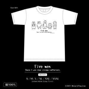 Tシャツ Five men 白色 半袖 プリントTシャツ Relax2 imajineshop