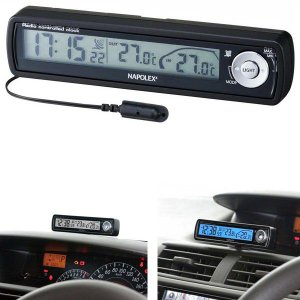 車用時計 電波時計 温度計 車外 ナポレックス アウトインサーモクロック Fizz-855 〒郵送可¥320|imanando