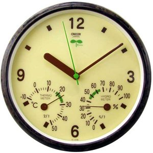 エコ・バイオマス温湿度計付き壁掛け時計TC-016Eクレセル製|imanando