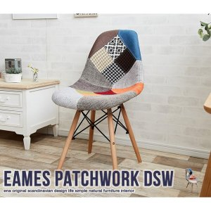 EAMES チェア パッチワークデザイン おしゃれ カフェ風 イーナ116002-PWK 代引不可 同梱不可 imarketweb