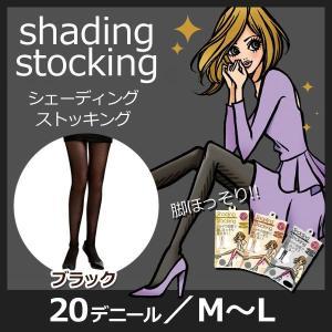 メール便/女の欲望 着圧シェーディングストッキング 20デニール ブラック M-L シャドウ効果で脚ほっそり 代引不可|imarketweb