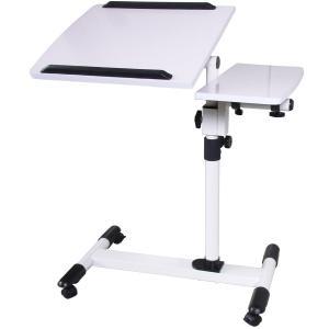 サイドテーブル 高さ調整 360度回転 キャスター付き 2天板 角度調整 寝室 リビング ホワイト ダークウッド ブラック A3サイズ|imarketweb|05