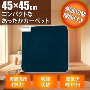 ホットマット マイヤー調 ミニマット 45×45cm TEKNOS EC-K488 ネイビー ホットカーペット 送料無料