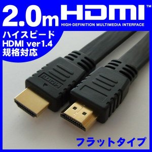HDMIケーブル MotionTech フルHD・3D・1080P対応 フラットケーブル 2m 2メートル MT-H14BF020K ブラック AVケーブル メール便 代引不可 送料無料