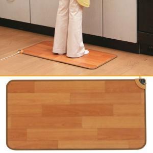 電気カーペット 90×45cm ホッチキッチンマット sugiyama 杉山紡織 フローリングタイプ フローリング調ホットカーペット キッチン用ホットカーペット|imarketweb