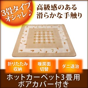 TEKNOS(テクノス) 3畳用カーペット 235×195cm ボア カバー付 TCW-306MK 送料無料|imarketweb