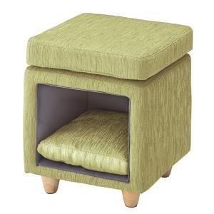 ペットスツール グリーン 角型 猫 犬 ペットハウス ペット スツール 椅子 チェア 猫カフェ おしゃれ リビング 居間 四角|imashun-stores