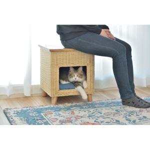 ペットハウススツール ラタン調 清涼感 涼しい 夏 夏用品 ペット用品 キャットハウス 猫 犬 自然 天然 素材 おしゃれ リビング|imashun-stores