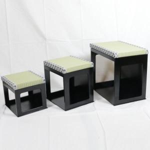 茶道具 座椅子 大 茶事座椅子セット 黒掻合塗り|imaya-storo