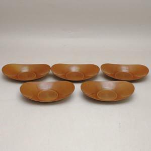 煎茶道具 煎茶器 茶托 茶たく 小判型 煮色 大 五枚組 秀峰堂製 3.5寸 imaya-storo