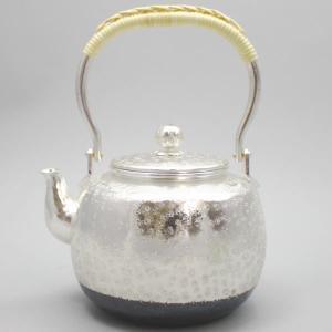 「茶器/茶道具 銀瓶(銀びん・銀ビン)」(花)小菊 秀峰堂製 900ml.|imaya-storo