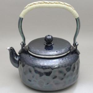 「茶器/茶道具 銀瓶」 銀燻 岩目 900ml.|imaya-storo