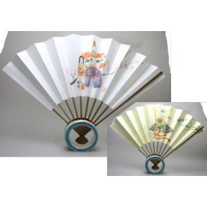 「茶器/茶道具 飾扇子(飾り扇子)」 立雛と兜の絵 リバーシブル (尺一) imaya-storo