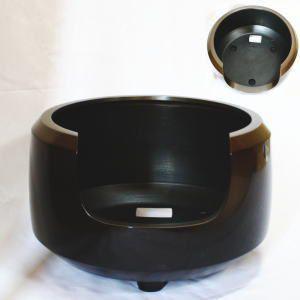 茶道具 風炉 面取風炉 尺ー 唐銅製 座布団付 菊池政光付 電熱器を通す穴あり 電熱器別売り|imaya-storo