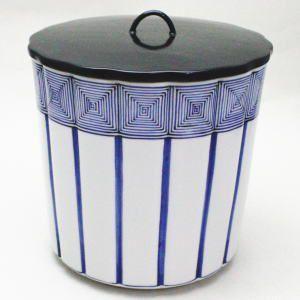 茶道具 水指 水器 染付桶川 輪華口 西村徳泉作 紫翠窯 柄は変わる場合があります。|imaya-storo