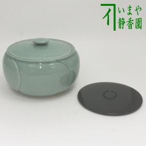 「茶器/茶道具 水指(水差し)」 青磁水指 (捻梅水指) 塗り蓋付 万古窯|imaya-storo