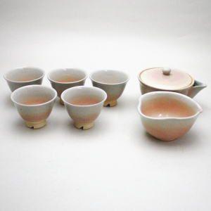 煎茶道具 煎茶器 煎茶器セット 萩焼き 泰山作 湯のみ5客 宝瓶 急須 湯さまし 宝ひん ほうひん imaya-storo