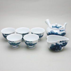 「煎茶道具 煎茶器セット」 有田焼き 山水 畑万作 (湯のみ 5客・急須・湯さまし) imaya-storo