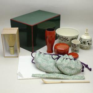 「茶器/茶道具 茶箱セット」 面朱青漆茶箱 茶箱7点セット (なつめ3点:樹脂製) imaya-storo