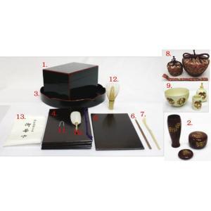 「茶器/茶道具セット 茶箱道具」 茶箱点前掻合13点セット (花形盆の時) imaya-storo