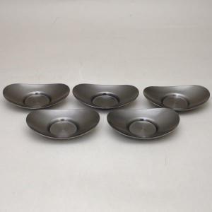 煎茶道具 煎茶器 茶托 茶たく 燻し銀磨き風 小判型 小 3寸 5枚セット 秀峰堂製 ステンレス製 C-29 五枚セット 5枚組 五枚組 imaya-storo