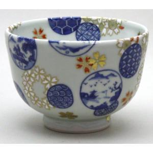茶道具 抹茶茶碗 京焼 染付 桜丸紋 五山窯 林淡幽|imaya-storo