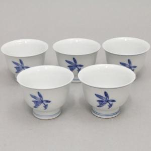 湯のみ 汲出し 煎茶茶碗 蘭 五客組 栄山作 湯呑 湯呑み 湯飲 湯飲み 汲み出し imaya-storo
