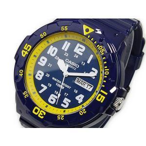 カシオ CASIO 逆輸入 スポーツ ダイバールック メンズ 腕時計 MRW-200HC-2B ネイビー×イエロー ラバーベルト