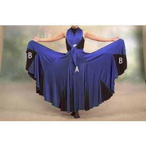 フラメンコスカート フラメンコファルダ フラメンコ衣装 練習用 青 格安 サラ モデル グラナダ