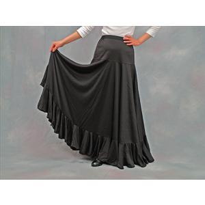 フラメンコスカート フラメンコファルダ フラメンコ衣装 練習用 黒無地 ウエストゴム 格安 サラ モデル マラガII