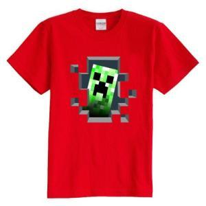 マインクラフト MINECRAFT メンズ Tシャツ (M/L) マイクラ グッズ コスプレ クリーパー・インサイド (レッド) impactlife55