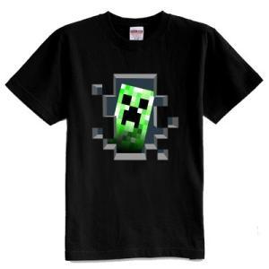 マインクラフト MINECRAFT メンズ Tシャツ (M/L) マイクラ グッズ コスプレ クリーパー・インサイド (ブラック) impactlife55