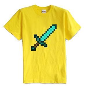 マインクラフト MINECRAFT メンズ Tシャツ (M/L) マイクラ グッズ コスプレ ダイヤモンドソード (イエロー) impactlife55
