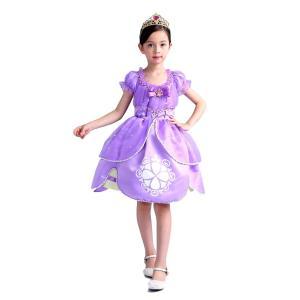 ソフィア風 ドレス プリンセス ミニドレス しっかり4層構造 ふんわり 子供 キッズ用 ドレス ティアラ 2点セット 子供 ドレス 女の子 誕生日 プレゼント impactlife55