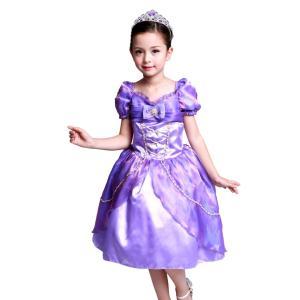 ラプンツェル 風 ミニドレス 衣装 子供 クリスマス コスプレ こども用 女の子 4層構造ふんわり ...