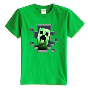 マインクラフト MINECRAFT メンズ Tシャツ (M/L) マイクラ グッズ コスプレ クリーパー・インサイド (グリーン) impactlife55