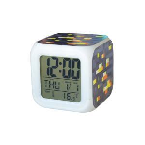 マインクラフト Minecraft マイクラ グッズ カラフルに光る 置時計 目覚まし時計 温度計付き LEDライト ランダム キーホルダーセット  (オレンジストーン)|impactlife55