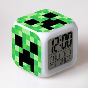 MINECRAFT (マインクラフト) カラフルに光る置時計 目覚まし時計 温度計付き LEDライト ランダム キーホルダーセット (クリーパー)|impactlife55