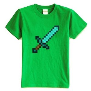 マインクラフト MINECRAFT メンズ Tシャツ (M/L) マイクラ グッズ コスプレ ダイヤモンドソード (グリーン)|impactlife55