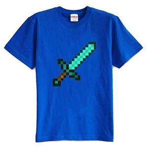 マインクラフト MINECRAFT メンズ Tシャツ (M/L) マイクラ グッズ コスプレ ダイヤモンドソード (ブルー) impactlife55