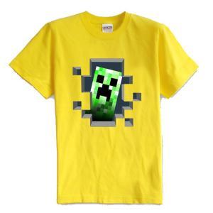 マインクラフト MINECRAFT メンズ Tシャツ (M/L) マイクラ グッズ コスプレ クリーパー・インサイド (イエロー) impactlife55