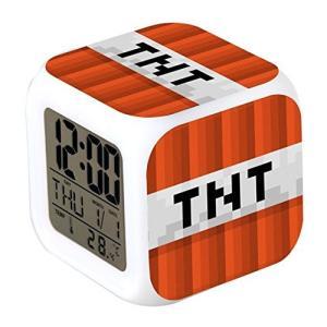 MINECRAFT (マインクラフト) カラフルに光る置時計 目覚まし時計 温度計付き LEDライト ランダム キーホルダーセット (TNT)|impactlife55
